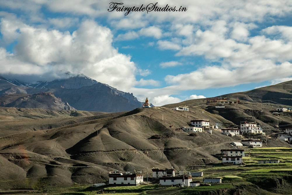 Buddha statue seen on top of a hill in Langza village, Spiti Valley - Himachal Pradesh, India