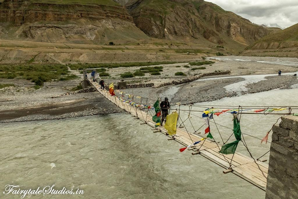 Suspension bridge over Pin river for crossing to other side in Pin Valley - Spiti Valley, Himachal Pradesh, India
