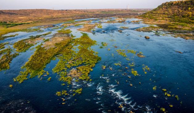 River below the bridge on the river side of Nagarjuna Sagar dam
