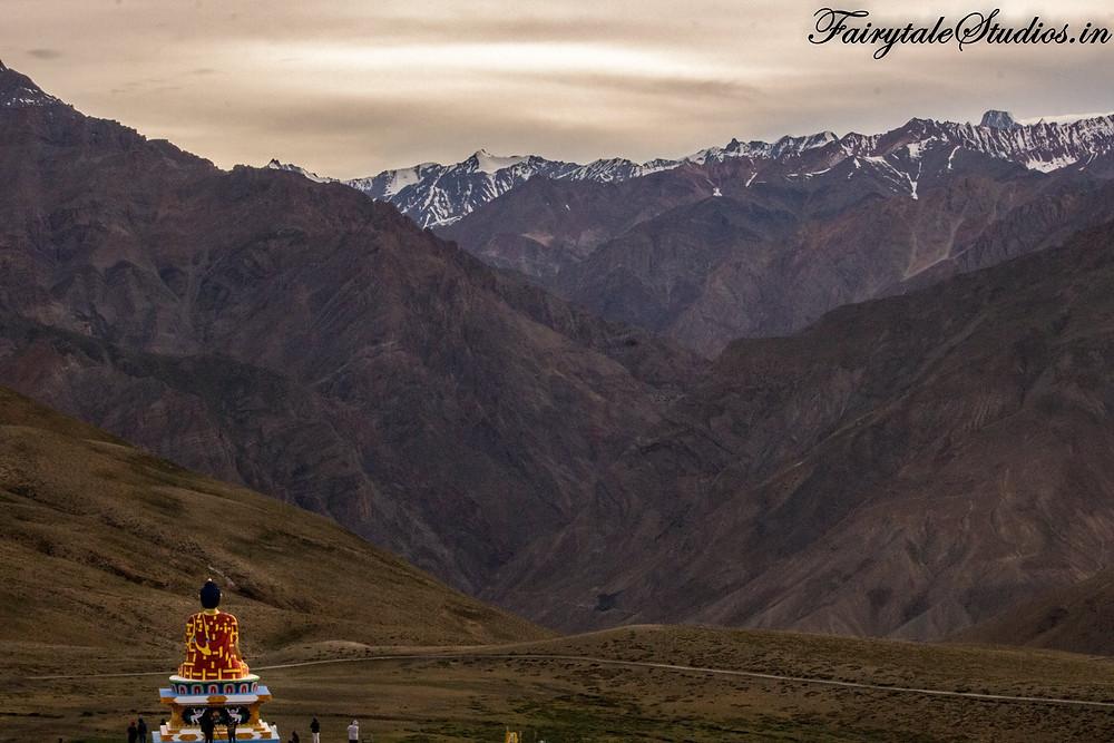 Buddha statue overlooking the Langza village, Spiti Valley - Himachal Pradesh, India
