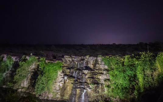 Ethipothala waterfalls, about 20 kms from Nagarjuna Sagar dam are well lit during nights giving it a fabulous feel