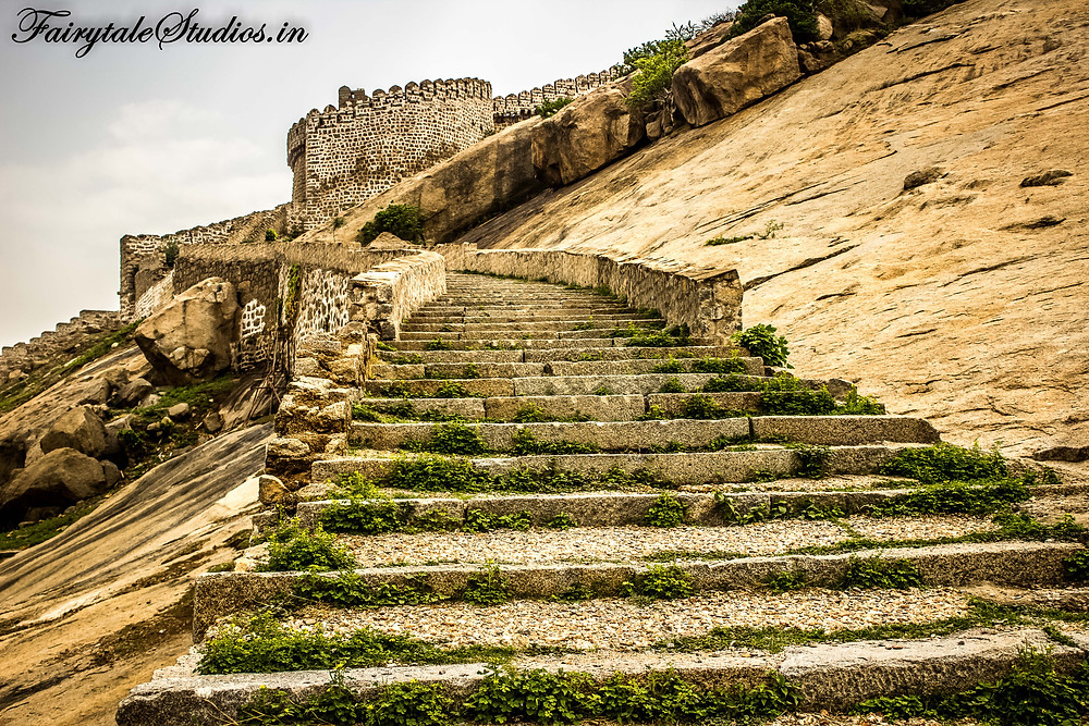 Steps leading to monolithic rock and Bhongir fort on top