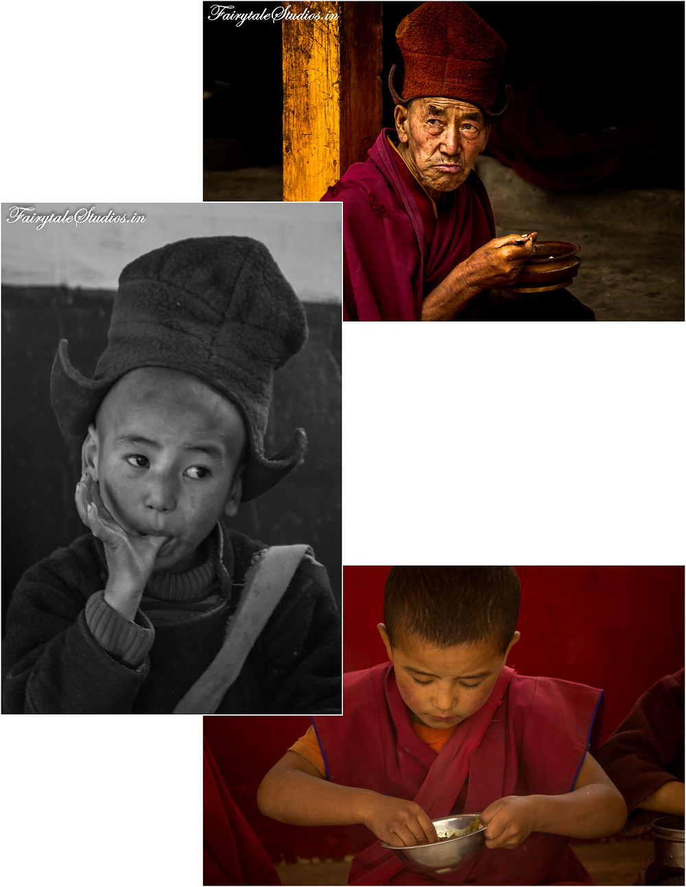Old and young, all together having lunch at Karsha monastery (The Zanskar Odyssey Travelogue)