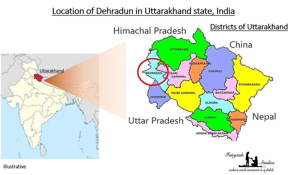 The various districts in the state of Uttarakhand and location of Dehradun in the Indian Map