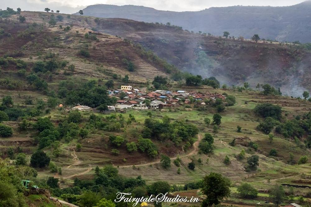 Purushwadi village as seen from a hilltop, Maharashtra - India