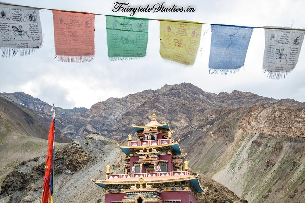 The Gue mummy lama temple against the barren backdrop, Gue - Spiti Valley, Himachal Pradesh