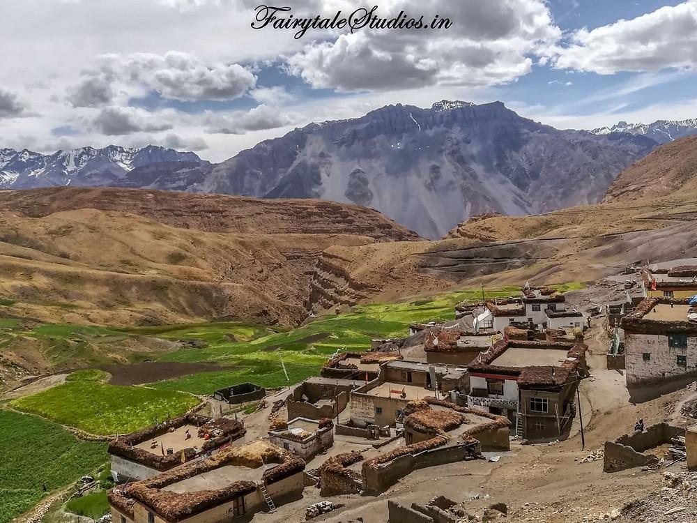 View of Chau Chau Kang Nilda peak from Hikkim Village - Spiti Valley, India