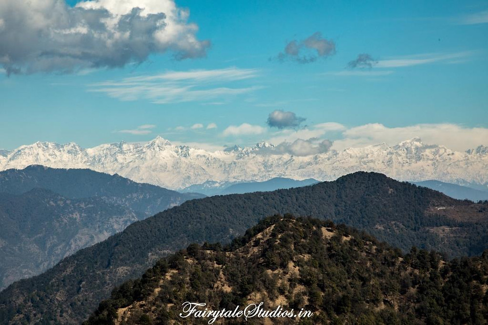 The snow covered Himalayan peaks as seen from Landour, Uttarakhand - India