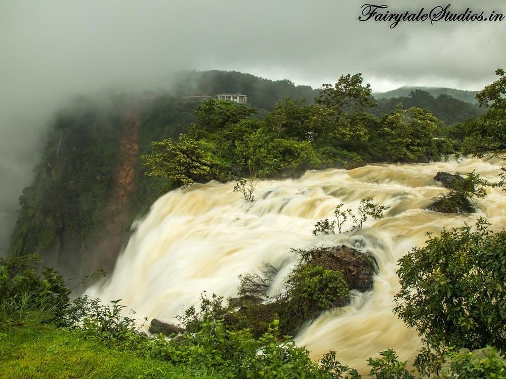View of Jog Falls from Prakruthi Yatri Niwas Lodge, Jog Falls, Karnataka - India