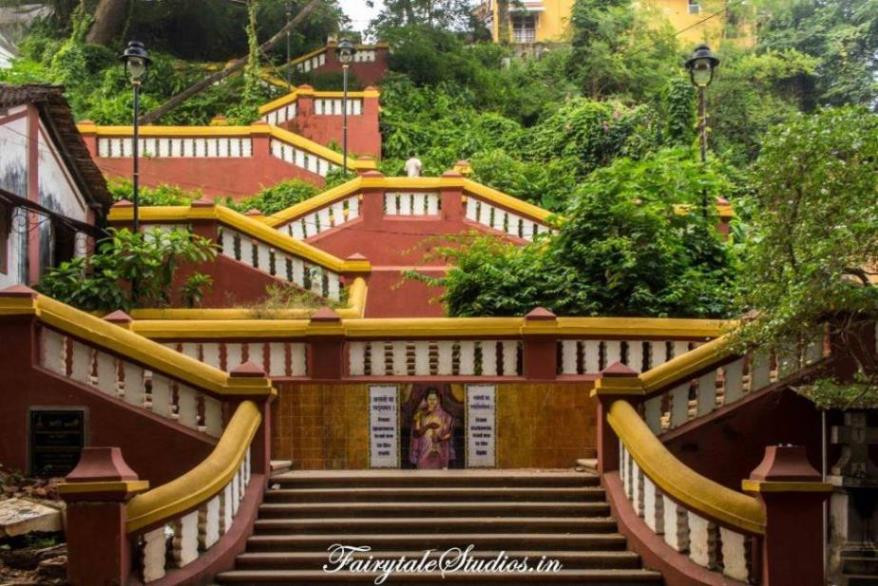 Colorful buildings, narrow walkways, winding steps are the highlights of portuguese styled latin quarters - Fontainhas of Goa