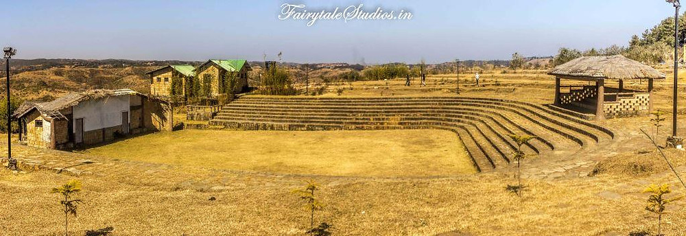 An amphitheatre built inside Khasi Heritage village for performances during Monolith festival