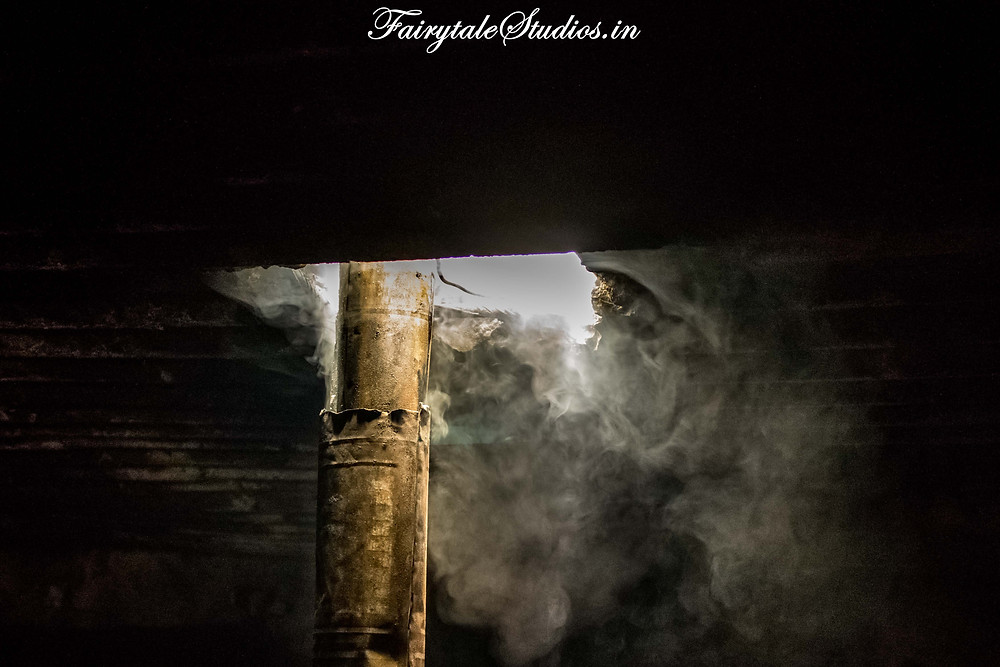 Smoke leaving the ceiling of the dairy house near Padum (The Zanskar Odyssey Travelogue)