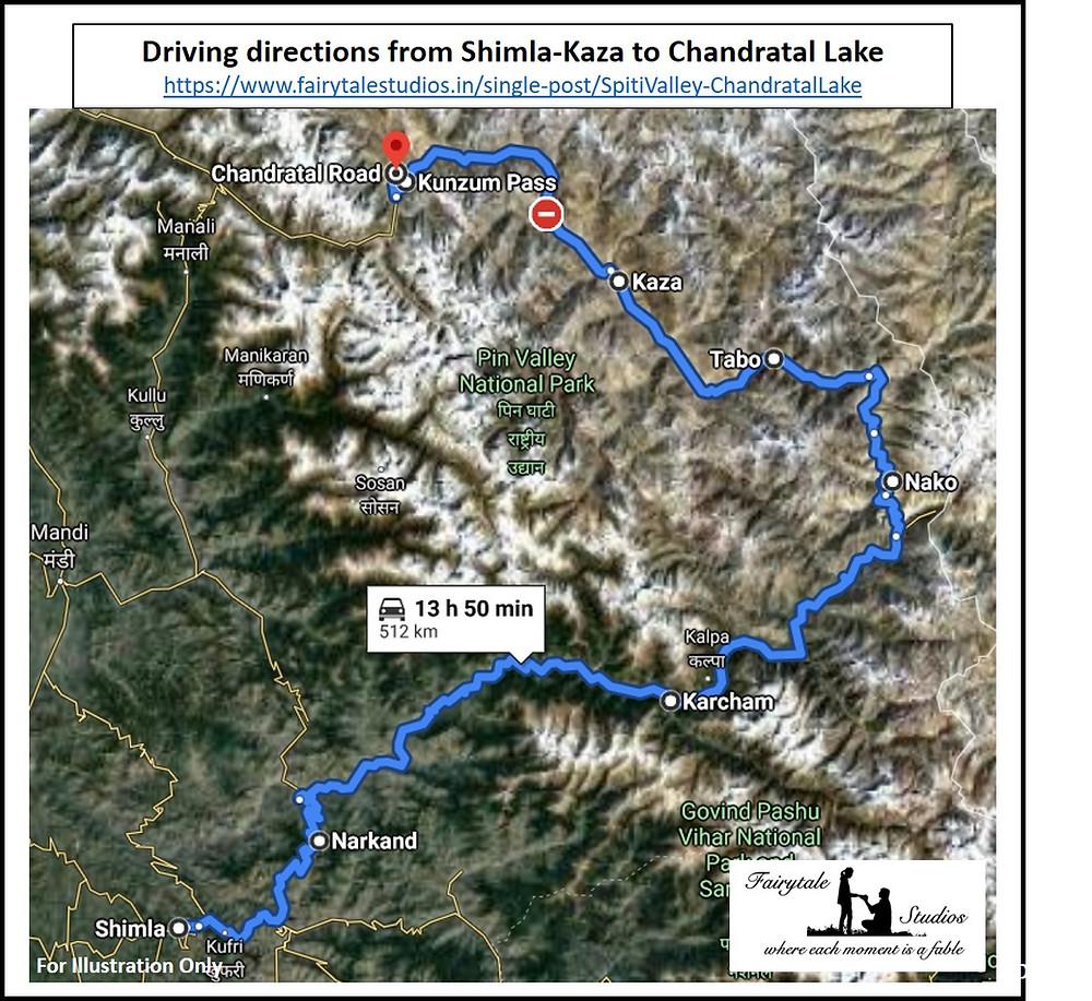 Driving directions from Shimla-Kaza to Chandratal Lake, Spiti Valley - Himachal Pradesh, India