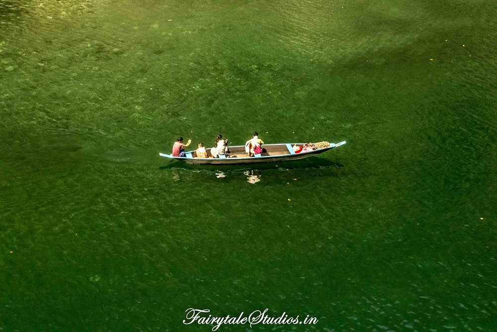 The beautiful crystal clear waters of Umngot river near Dawki