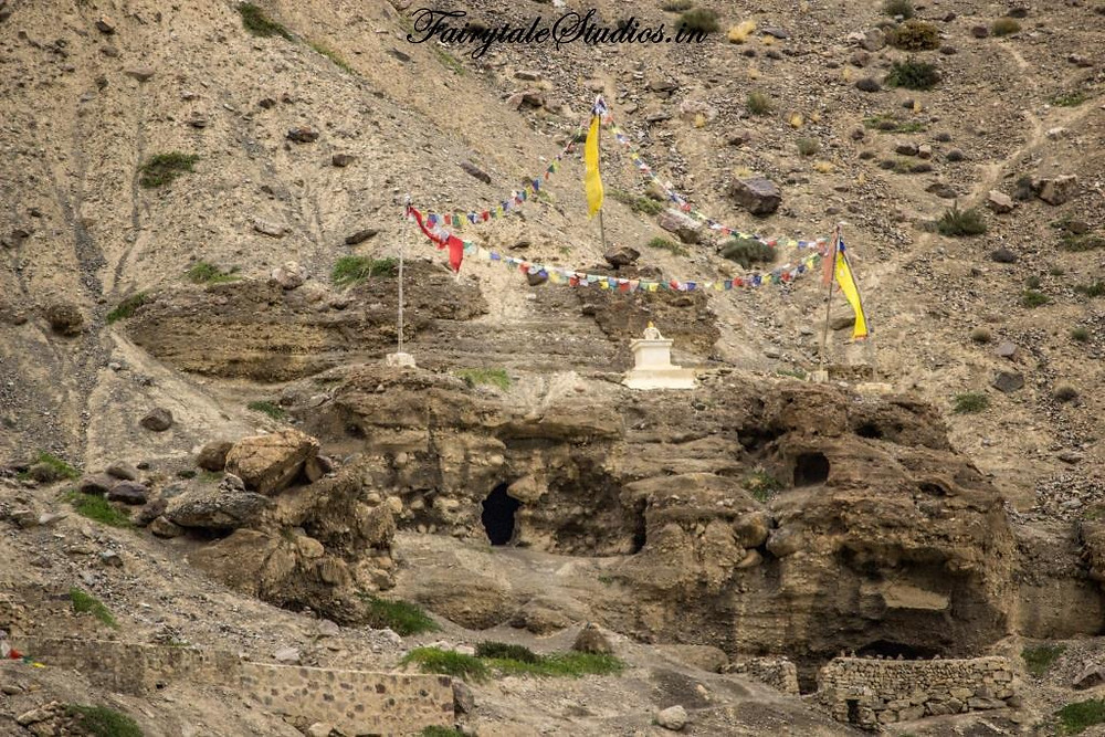 Tabo caves carved out in a hill near Tabo monastery, Tabo - Spiti Valley, Himachal Pradesh