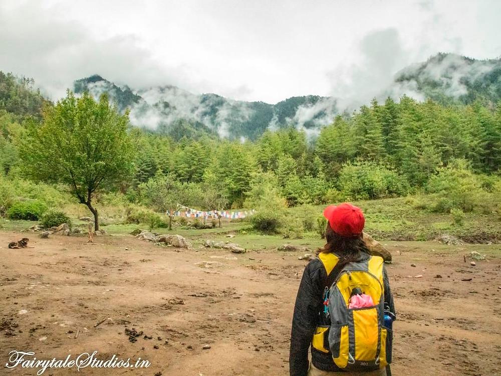 Starting the hike to Taktsang monastery (Tigers Nest) in Paro, Bhutan