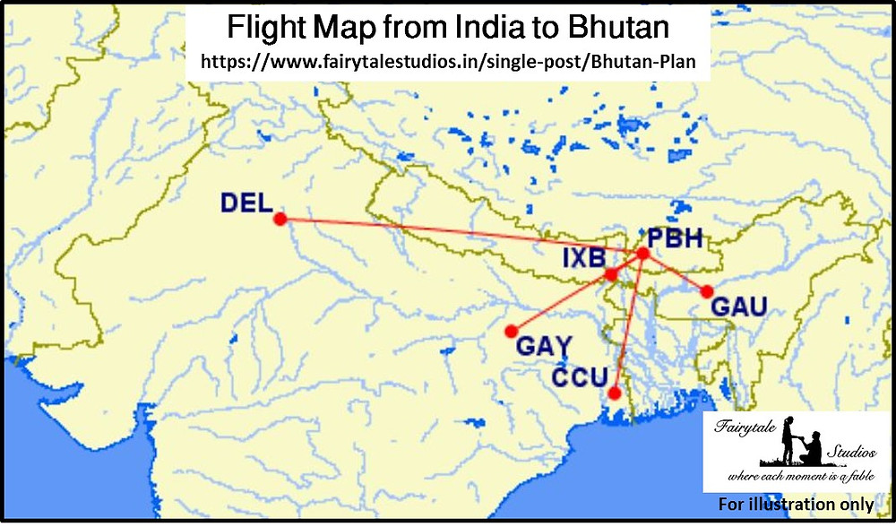 Flight map from Indian airports to Paro International airport_Plan your trip to Bhutan_The Bhutan Odyssey
