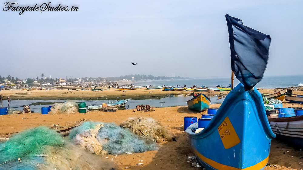 Fishing boats at Kovalam beach on the way from Chennai to Mahabalipuram