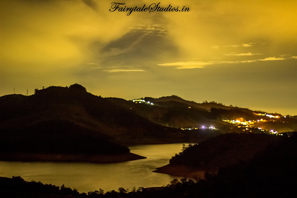 Same view of Emerald lake from Red hills nature resort in night taken with long exposure