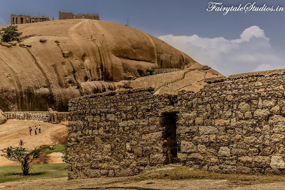 Halfway through the climb, a plain stretch with ruined walls of Bhongir fort