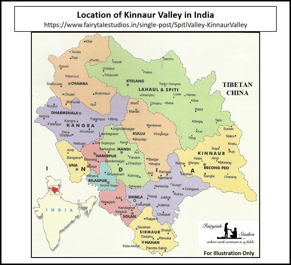 Location of Kinnaur Valley in Indian Map