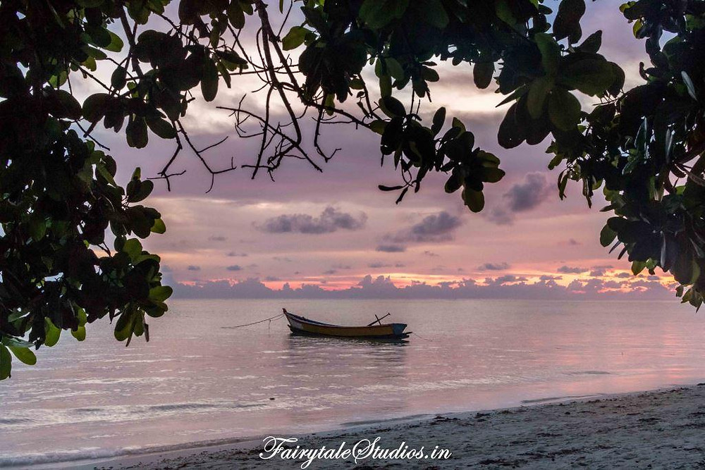 Andaman has number of sunrise and sunset points. This beautiful sunrise is seen from Govind Nagar beach at Havelock_The Andaman Odyssey_Fairytale Travels