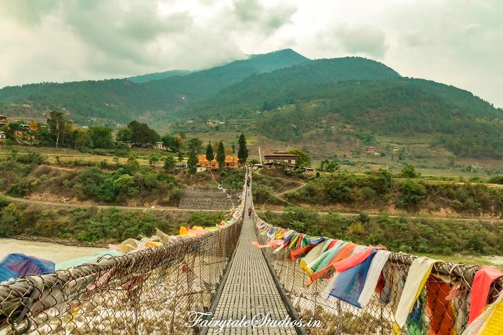 Punakha Suspension Bridge - a must visit sightseeing place in Punakha, Bhutan