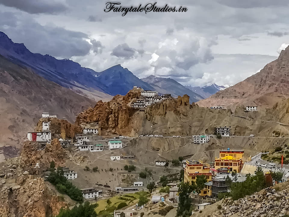 The view of Dhankar as seen from the trekking trail to Dhankar Lake, Spiti Valley_Himachal Pradesh, India
