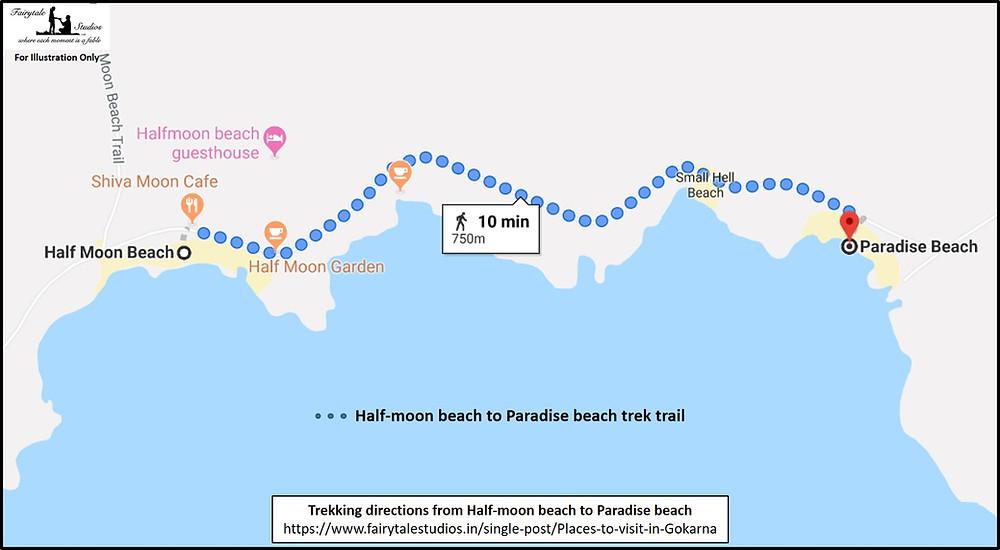 Trekking directions from Half-moon beach to Paradise beach in Gokarna