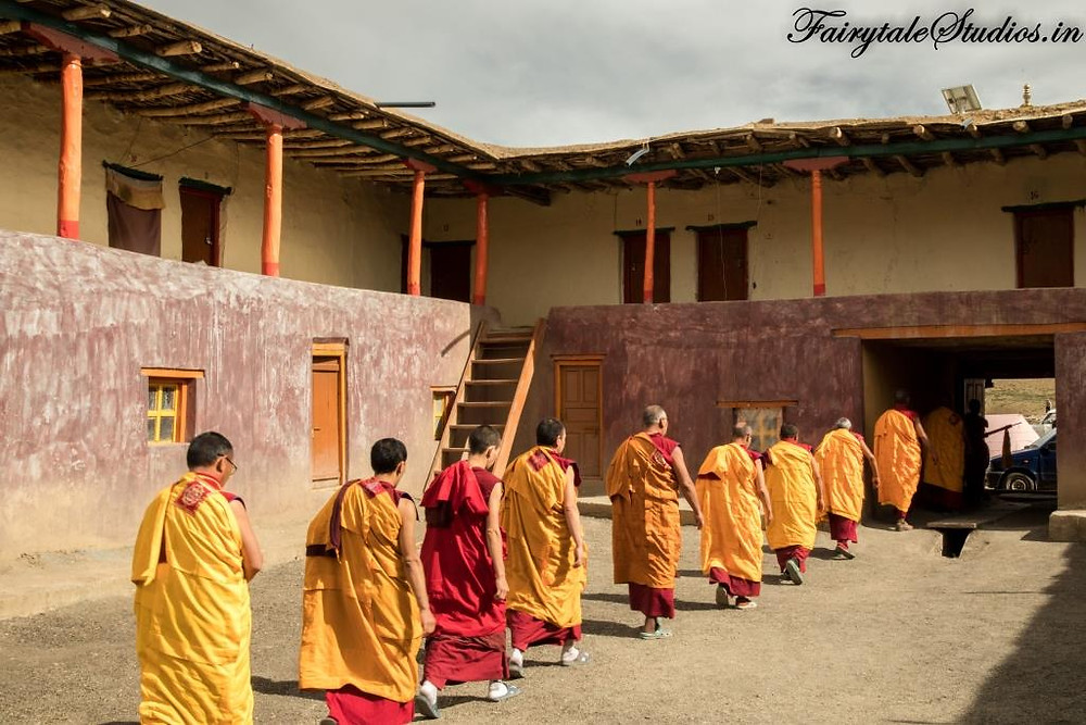 Monks exiting the Tangyud monastery in Komik village, Spiti Valley_Plan your trip to Spiti Valley
