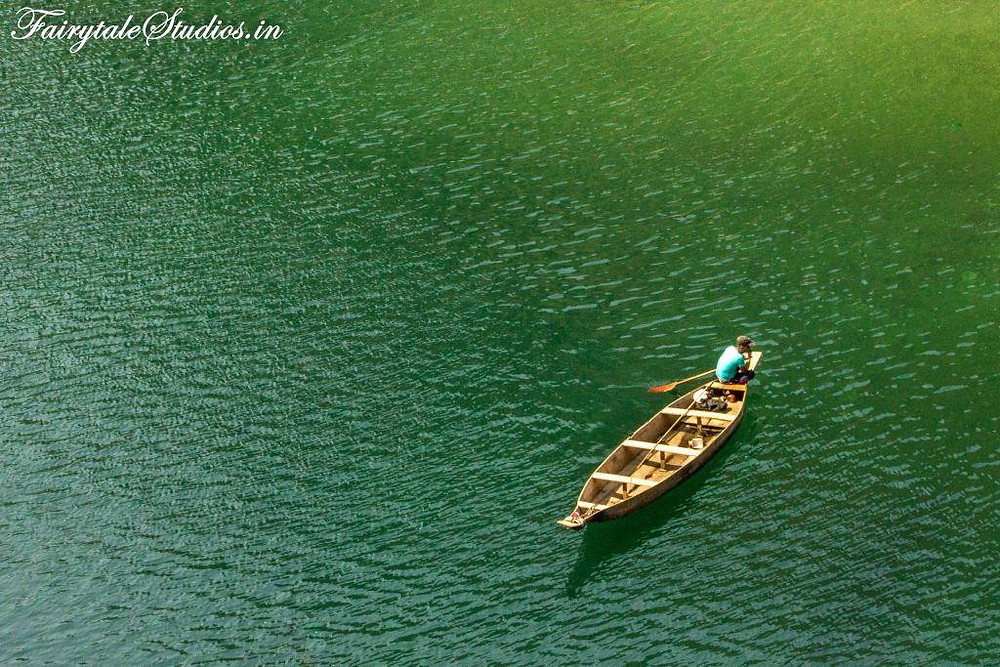 Greenish shades of Umngot river at Dawki, Meghalaya