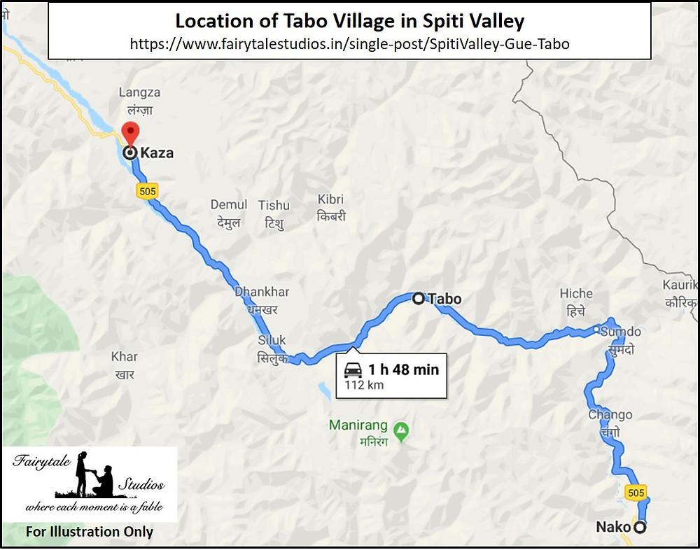Location of Tabo village in Spiti Valley, Himachal Pradesh