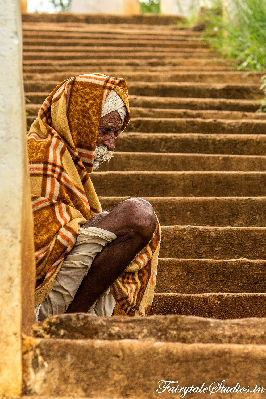 Met this old man begging on steps leading to Mallela Theertham waterfalls