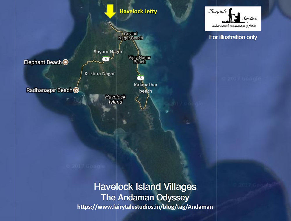 Map of villages of Havelock Island_The Andaman Odyssey_Fairytale Travels