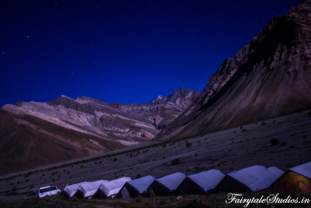 Moon was enough to light up the entire landscape once all the ligths in the camps were out (The Zanskar Odyssey Travelogue)