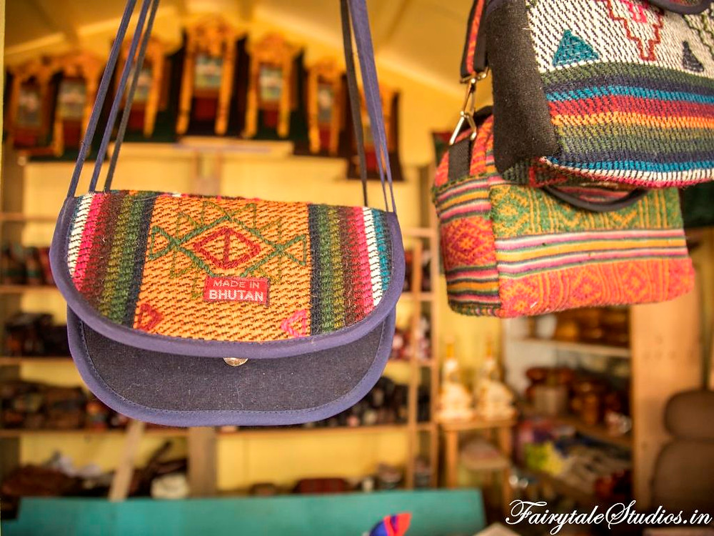 Handmade bags at one of the handicraft shops at Norzin Lam market, Thimphu_The Bhutan Odyssey_Places to visit in Thimphu