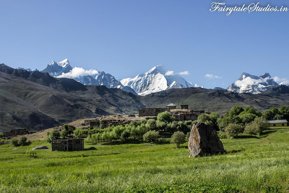 A Village near Panikhar with the twin peaks of Nun-Kun (The Zanskar Odyssey Travelogue)