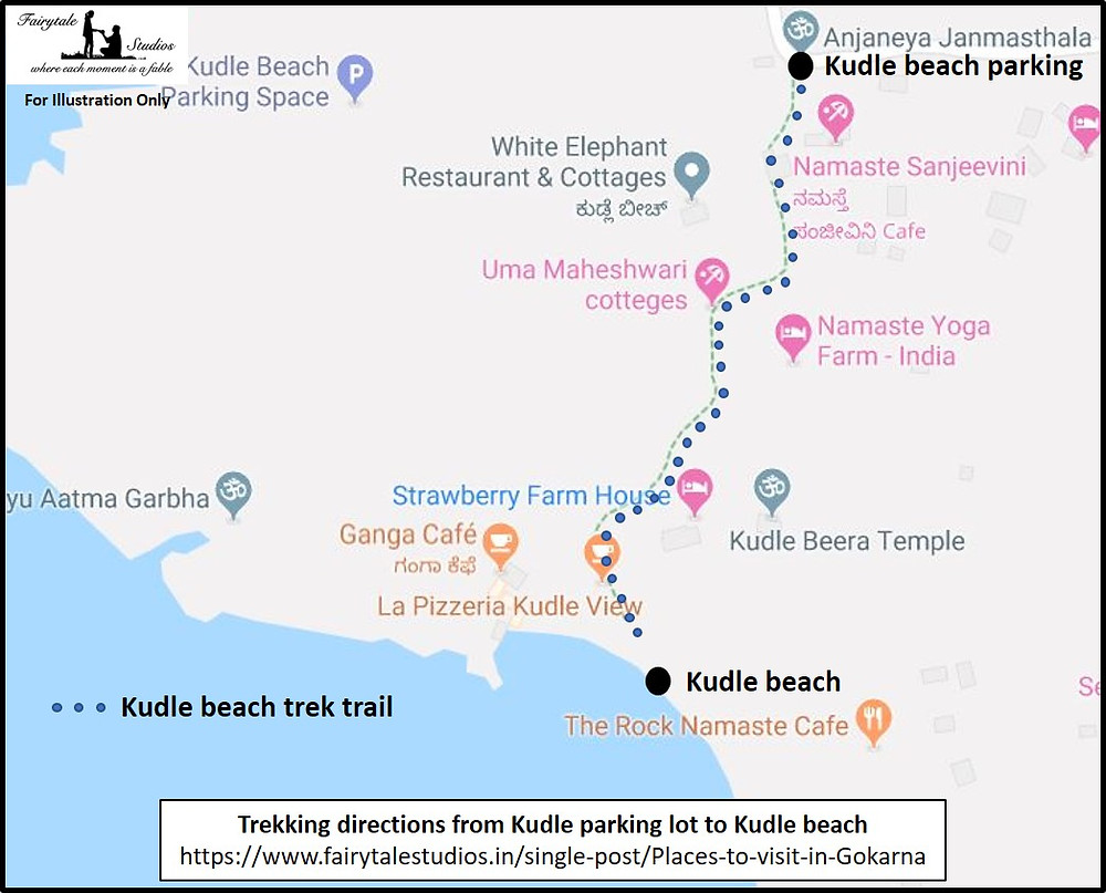 Trekking directions from Kudle parking lot to Kudle beach in Gokarna