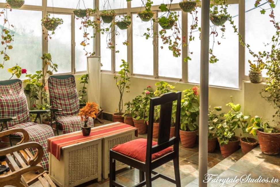 The conservatory at La Villa Bethany, Landour (near Mussoorie), Uttarakhand - India