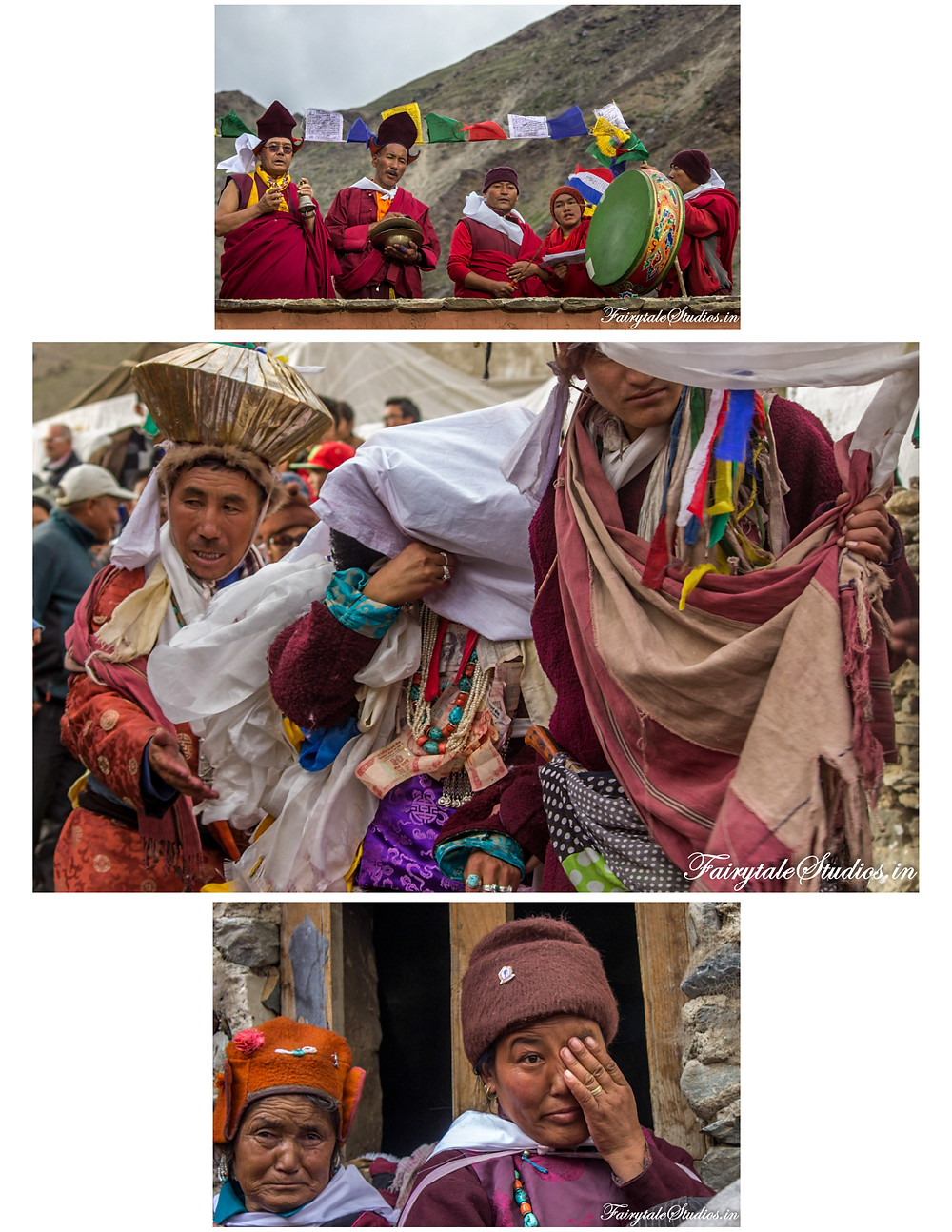 Men from groom's side take the bride as monks watch and women cry (The Zanskar Odyssey Travelogue)