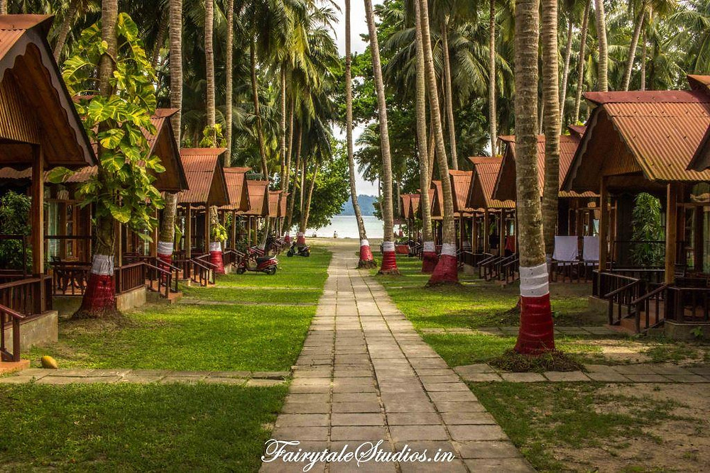 The beautiful path with lagoon suites on both sides leading to Govind Nagar beach at Symphony Palms beach resort, Havelock