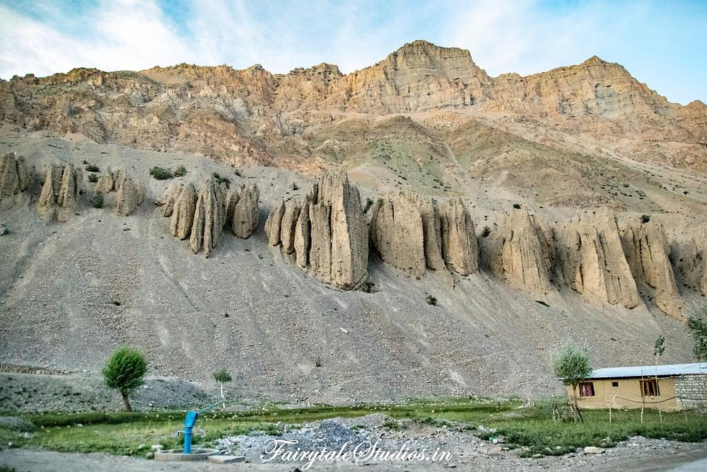 Erosions of different shapes carved in the barren mountains in Spiti Valley_Introduction to Spiti Valley