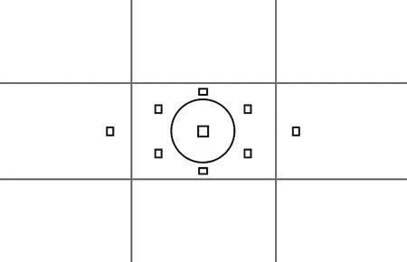 Auto focus points of a DSLR camera