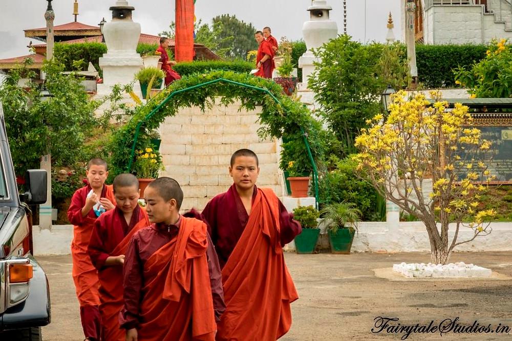 Nuns at a nunnery in Punakha, Bhutan