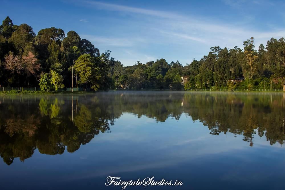 The serene Kodaikanal lake in the early morning