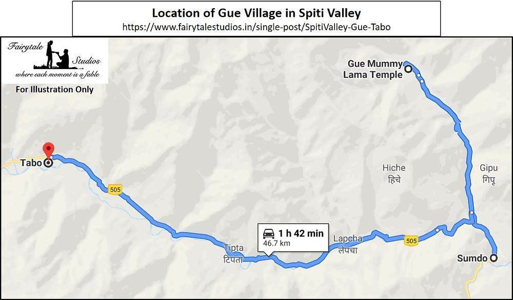Location of Gue village in Spiti Valley, Himachal Pradesh
