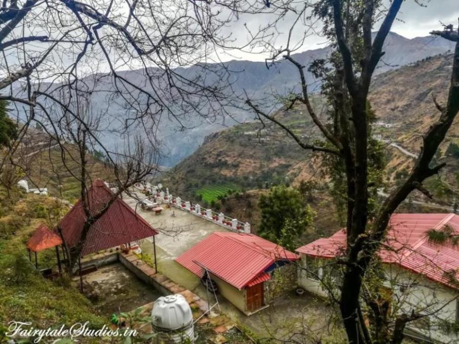 The top view of The Brigadiers Cottage homestay near Kempty Falls, Mussoorie, Uttarakhand - India