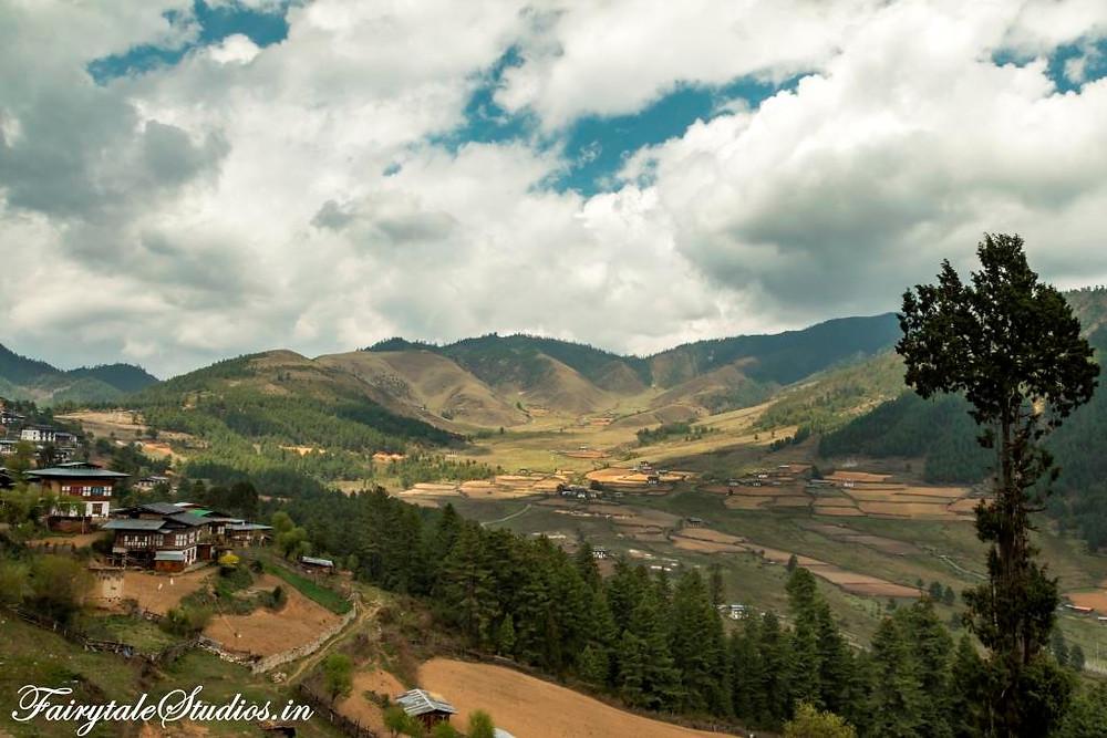 Phobjikha or Gangtey valley as seen from a nearby hill, Bhutan