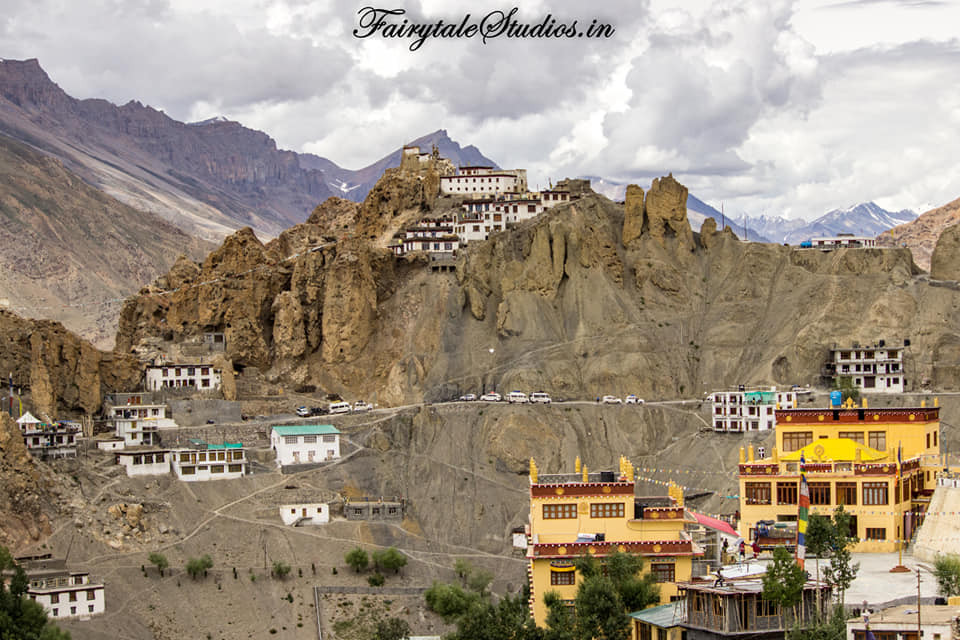 Dhankar monastery perched on a cliffside of a barren mountain, Spiti Valley_Himachal Pradesh, India