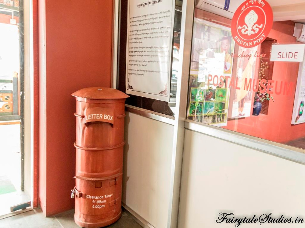 The red post box at the Bhutan Postal Museum, Thimphu_The Bhutan Odyssey_Places to visit in Thimphu